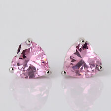 Brillant 18k white gold filled heart cut pink topaz lady  stud earring