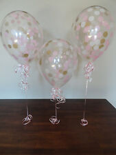 "8 Count 11"" Qualatex Confetti Balloons with Pink, White, and Gold Confetti"