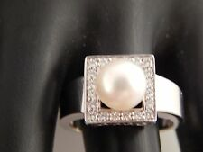 14k WG Large South Sea PEARL Diamond Square Halo F/VS Ex Cut  Designer Ring