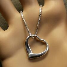 SILVER second hand open heart pendant & chain