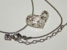 VINTAGE SWAN MARKED SWAROVSK HEART with CRYSTALS NECKLACE Unique