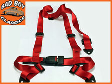 RED  3 Point Racing Seat Belt Harness Kit Ideal For LANDROVER DEFENDER