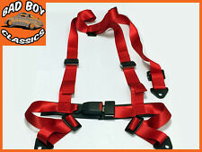 RED 3 Point Fixing Sports Racing Harness Seat Belt Centre Buckle 2""