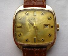Vintage 1950s Oris Gents Gold Square Dial Watch With Leather Strap, Gold Plated