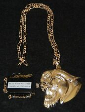 "Cougar, Mountain Lion Pendant, w/29""Chain, 24kt Gold Overlay, New"