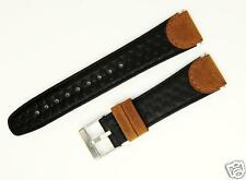 19mm Brown/Black Pebbled Distressed Leather Watch Band Fits TIMEX EXPEDITION