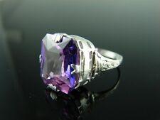 Sterling Silver Antique Style Filigree Ring with Purple CZ Gemstone 14x12mm Ring