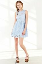 Urban Outfitters Medallion Fit and Flare Blue Lace Dress by Kimchi Blue (No Slip