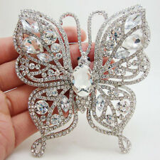 Bride Butterfly Insect Silver-plated Brooch Clear Rhinestone Crystal  Wedding