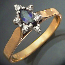 Classic natural SAPPHIRE 6 DIAMOND 9k GOLD CLUSTER DRESS RING solid yellow Sz L
