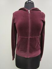 Juicy Couture Hoodie Jacket Velour Full Zip Cranberry Red Long Sleeve Wn's Jr L