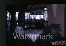 1963  Kodachrome photo slide People by Bus Drivers at Restaurant  Mexico