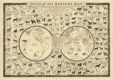 """Vintage Illustrated World Map with Dog breeds of Nations CANVAS PRINT  24""""X18"""""""