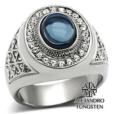 Men's Ring Blue Oval Cut Stainless Steel Silver Stone Design Size 12