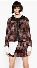 BNWT ZARA RED BLACK STRUCTURED FANTASY TWEED BLAZER JACKET LACE SIZE S UK8
