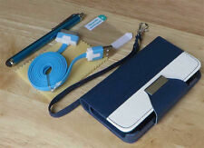 PU Leather Flip Pouch Wallet Stand Case Cover For iPhone 4 4S - Dark Blue