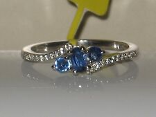 NATURAL HIMALAYAN KYANITE AND WHITE ZIRCON RING  .925 STERLING SILVER   SZ  10