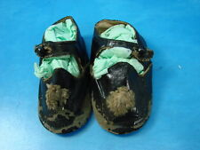 Antique Vintage Pair Old Leather Baby Shoes Black w/ Brown Soles Strap