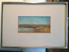 "oil pastel original ""lone row boat"" signed c.1967 by stuart kaufman 1926-2008"