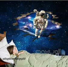 Astronaut Outer space Galexy 3D Cracked Wall Stickers Decals Kids Boy Decor Arts