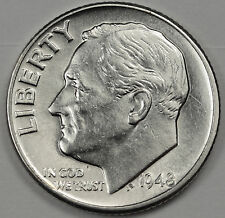 1948-p Roosevelt Dime.  Fully Separated Horizontal Torch Line's.  BU. (Inv. B)