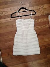 J.Crew Rugby Stripe Ginny Dress Strapless Ivory Natural 0P Petite Pockets!