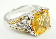Sterling Silver Two Tone Citrine Clear CZ Cocktail Ring Size 7 Square Faceted
