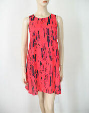 Aqua Bamboo Print Sleeveless A-line Dress Neon Red/Orange M $98 9502 BM12