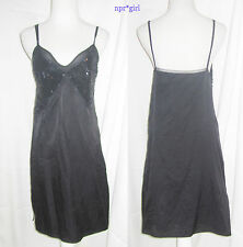 Chloe RUNWAY GLAM Sequin Beaded Black Silk Dress Sweetheart Neckline T40 4 6 S