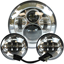 "7"" Chrome LED Projector Daymaker Headlight + Passing Lights For Harley Touring"