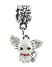 1Pcs White Crystal Cat Charms Silver Pendant bead Fit Bracelet/Necklace