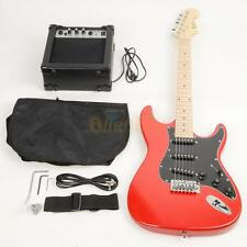 New 22 Frets ST Burning Fire Electric Guitar with Black Fender Red 15w AMP