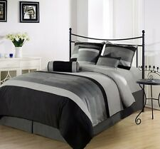 Chezmoi Collection 7-Piece 3-Tone Embroidered Comforter Set Queen, Black/Gray