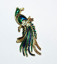 Vintage Exotic Bird of Paradise Brooch in Gold Plated metal Trifari style