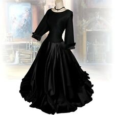 NWT Black Satin Full Skirt Formal Evening Ball Gown Dress w Sleeves ~ 16 W / 16W