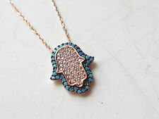 TURKISH ROSE 925K STERLING SILVER EVIL EYE TURQUOISE TOPAZ GOOD LUCK NECKLACE