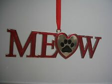 Red Enameled Silver Metal MEOW Heart Black Cat Paw Print XMas Ornament NWT
