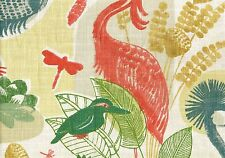 5 Yds Richloom Fabric Mangrove Paradise Birds Frogs Drapery Upholstery