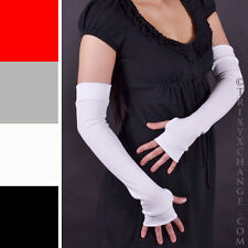 Ladies White Long Cotton Fingerless Arm Warmers Gloves Winter Winter Soft 1009