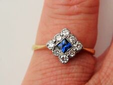 ART DECO 18ct LOVELY  SAPPHIRE & DIAMOND RING