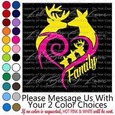 BUCK DOE HEART DEER FAMILY CUSTOM VINYL DECAL PERSONALIZED TO MATCH YOUR FAMILY