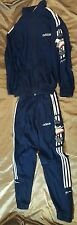 Vintage blue Adidas polyester medium Men's Track Sport  full Sweatsuit 80s 90s