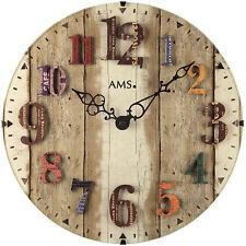 AMS 9423 Wanduhr Quarz, gewölbtes Mineralglas, aufgelegte Zahlen