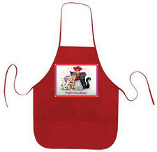 RED APRON CUSTOM KITTY CAT DESIGN FOR RED HAT LADIES OF SOCIETY TEAS OR LUNCHEON