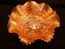 NORTHWOOD GRAPE AND CABLE VARIANT CARNIVAL GLASS BOWL ~ MARIGOLD