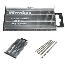 20 piece Microbox HSS Twist Drill Set 0.3mm -1.6mm Jewellery Hobby Craft