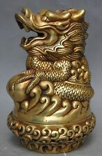 chinese fengshui brass zodiac animal dragon lucky statue incense burner NR