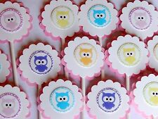 15 BABY OWL Cupcake Toppers Birthday Party, Baby Shower Decoration 15