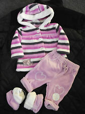 BNWT Girls Baby Brand 0-3 Months Cute Fuzzy Hoodie Jacket Pants & Slippers Set