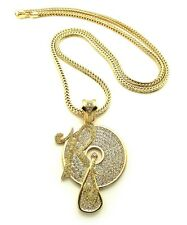 """NEW ICED OUT JAY-Z, KANYE """" ROCAFELLA RECORDS """" PENDANT & 36"""" 4mm FRANCO CHAIN.."""